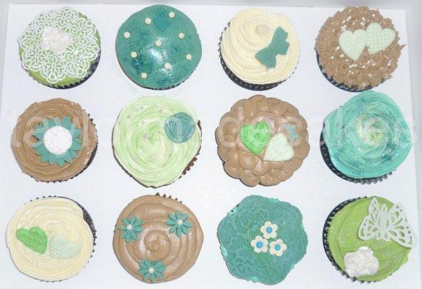 Choc & teal cupcakes