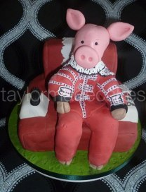 Pig in a chair
