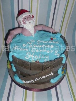 Santa hot tub